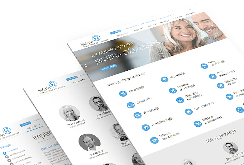 Slenio klinika svetainės dizainas ir programavimas