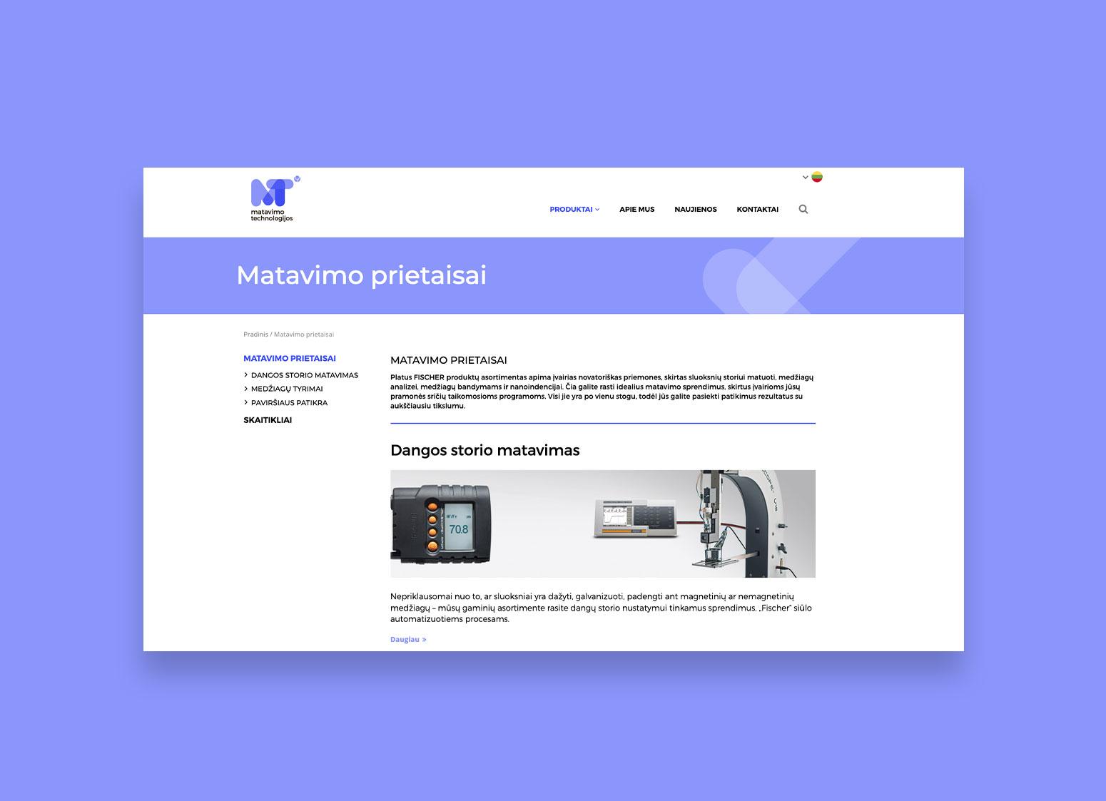Matavimo Technologijų internetinė svetainė sukurta Pixel House