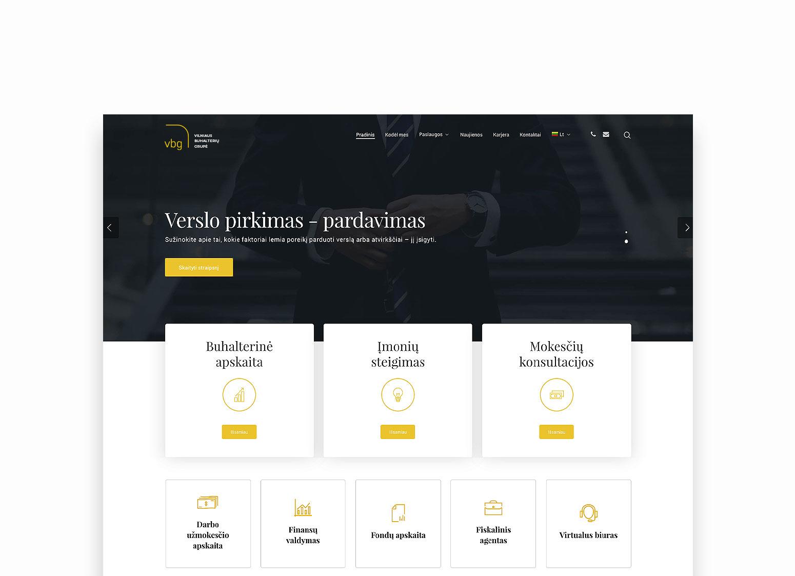 VB grupės internetinė svetainė sukurta Pixel House